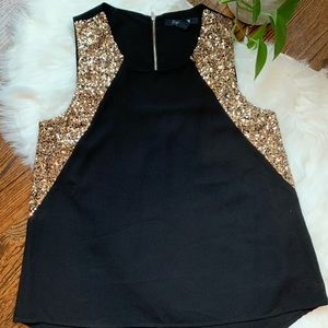 Gold and Black Dressy Holiday Party Tank Blouse